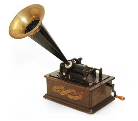 gramophone: Edison gramophone on white background