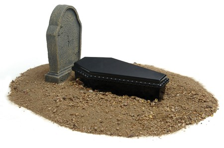Casket, grave and headstone on white background Stock Photo