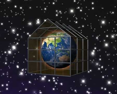 heat radiation: planet earth in greenhouse Stock Photo