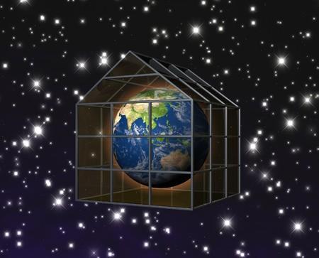 invernadero: planeta tierra en invernadero  Foto de archivo
