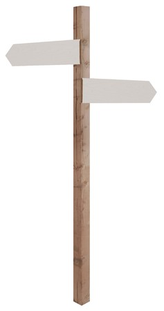 crossroads: wooden sign post with blank direction signs pointing in opposite directions
