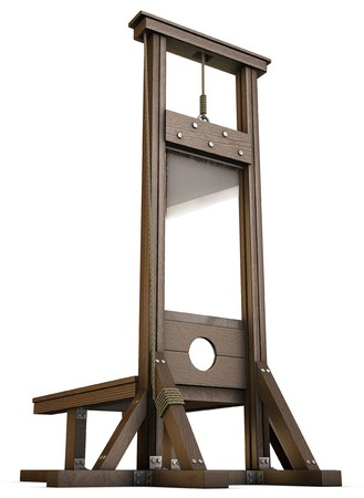 capital punishment: An Empty Guillotine rendered from the ground over a white background