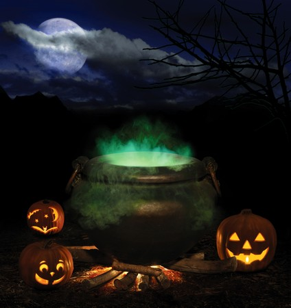 brewing: bubbling iron cauldron with orange pumpkin jack-o-lanterns and a full moon