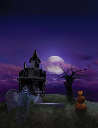 Halloween scenic designed as a background for a Halloween event flier, featuring a haunted house, ghost and pumpkin man against a full moon sky.