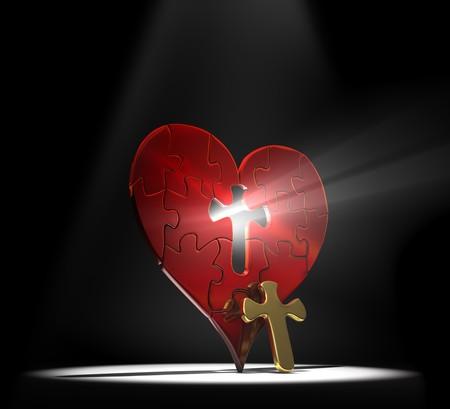rood kruis: Rood hart puzzel met een gouden kruis als het ontbrekende stuk van het center onder een schijnwerper op een donkere achtergrond