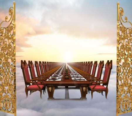 infinitely: Illustration of the Great Feast at the end of time featuring an infinitely long banquet table set in the clouds just past the gates of heaven