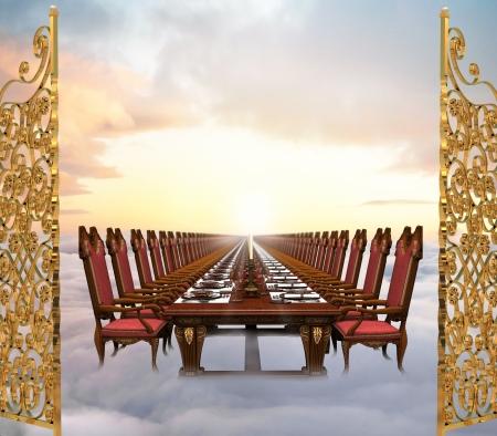 unendlich: Illustration of the Great Feast at the End of Time featuring eine unendlich lange Bankett-Tabelle legen Sie in den Wolken nur hinter die Tore des Himmels