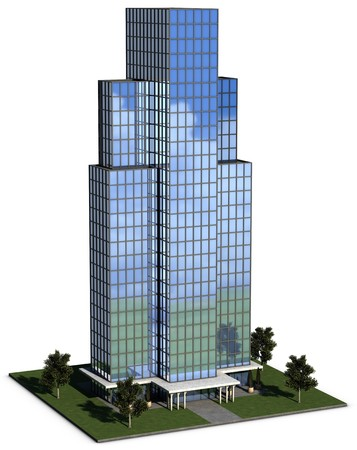 corporation: modern hi-rise corporate office building with glass exterior over a white background