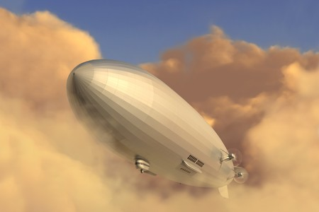 airship: Retro zeppelin modeled after the Hindenburg emerging from a cloud bank in the late afternoon