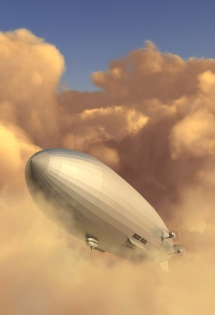 Zeppelin modeled after the Hindenburg emerging from a cloud bank in the late afternoon