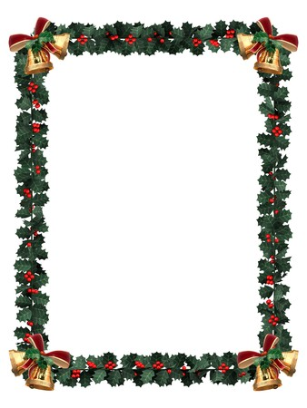 holidays: Holly garland border with gold bells on a white background with letter sized aspect ratio Stock Photo