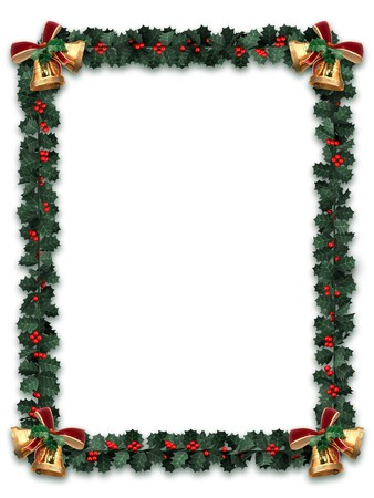 holly berry: Holly garland border with gold bells on a white background with letter sized aspect ratio Stock Photo