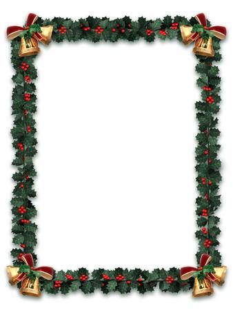 houx: Holly garland fronti�re avec or cloches sur un fond blanc avec lettre de taille des proportions  Banque d'images