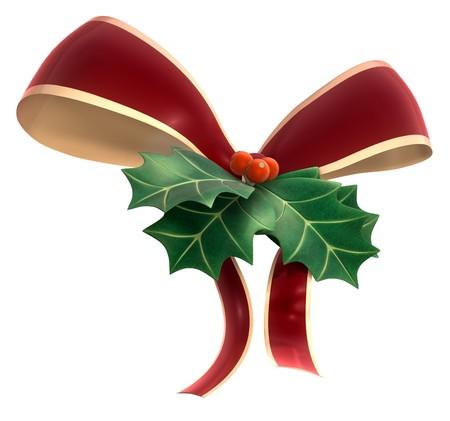 hulst: Een stuk van Holly blad en berry gebonden in een lint op een witte achtergrond.  Stockfoto