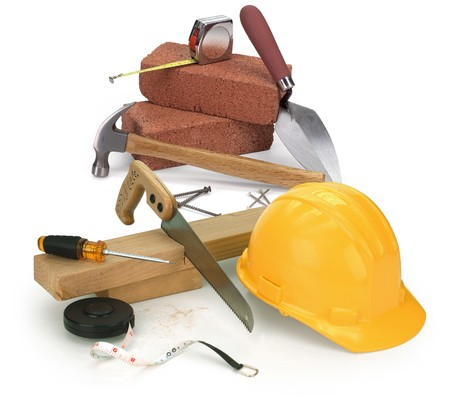 saw: tools and construction materials on white Stock Photo