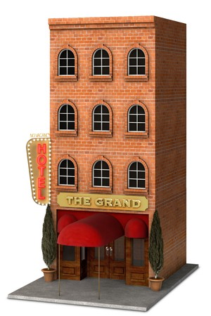 awnings: Iconic rendering of a classic Hotel front isolated on a white background