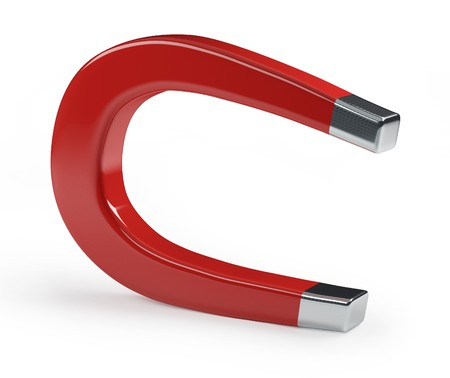 mágnes: A horseshoe magnet over a white background