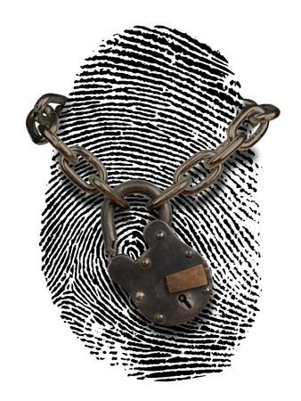 personalausweis: Fingerabdruck mit offenen Vorh�ngeschloss und Kette drapiert �ber es
