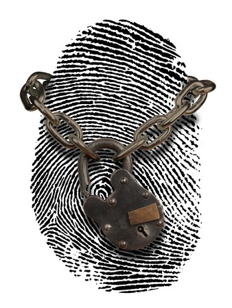 identity thieves: fingerprint with open padlock and chain draped over it