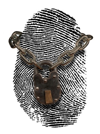 finger print with lock and chain draped over it Stock Photo - 7052952