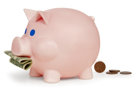 pennies: Piggy bank eating a dollar and turning it into pennies