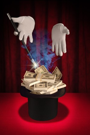 White gloved hands holding a magic wand above a magicians top hat filled with cash producing a spark and smoke on a red background