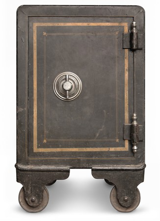bank protection: Antique iron safe isolated on white background