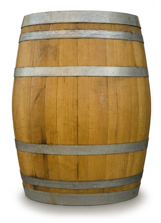 beer barrel: Oak Barrel isolated on white