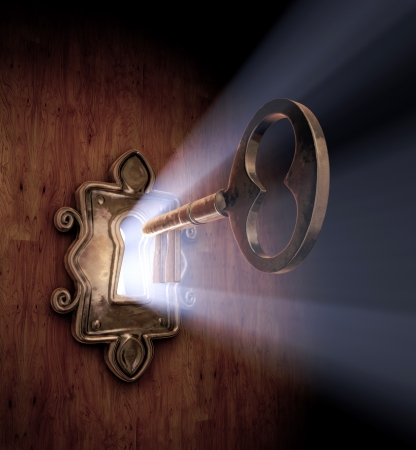 door knob: A close-up of a key moving towards the key hole.