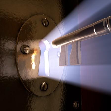 keyholes: A close-up of a key moving towards the key hole.