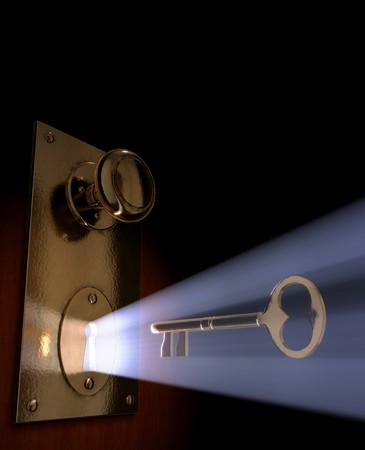 keyholes: Conceptual 3D art of a key moving towards the key hole. Stock Photo