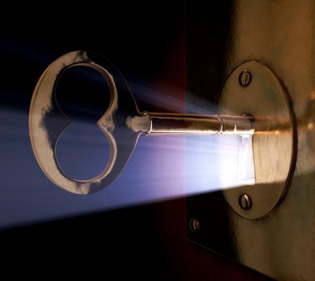 Een close-up van een sleutel in het belangrijkste gat.