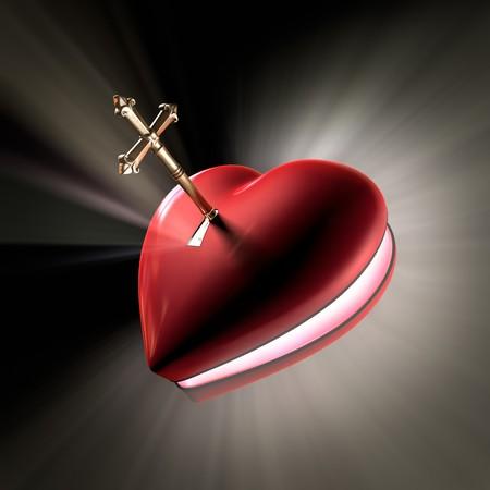 Een cross gevormde sleutel ontsluiten een hart gevormde vak openen witth volume licht schieten uit. Stockfoto