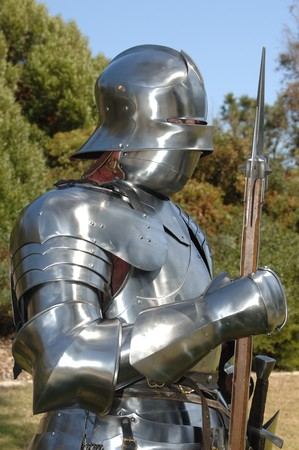 mediaeval: Medium side shot of a 15th century English knight in armour