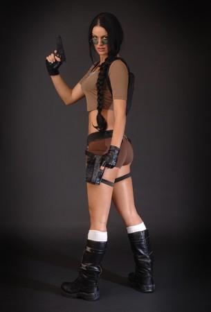 croft: Lara Croft in classic Tomb Raider attire Stock Photo