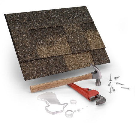home repair: roofing shingles, hammer & water Stock Photo