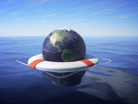 An Earth floating in a lifesaver over sea water. photo