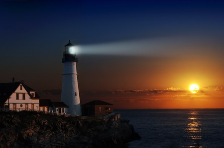 Portland headlight light house at dawn Imagens - 7053609