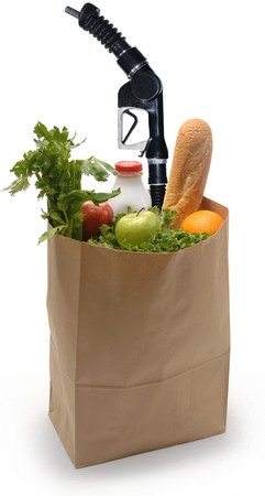 Brown paper bag filled with groceries and a gas pump nozzle on a white background