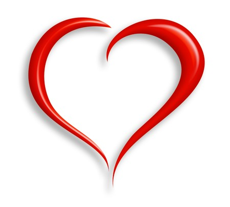 infatuation:  Stylized valentine heart made from two swashes and isolated on white.