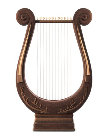 A stringed lyre musical instrument on a white background photo