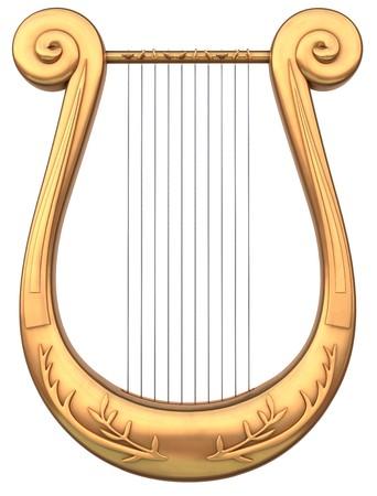 arpa: Un instrumento musical de cuerdas de la lira, sobre un fondo blanco