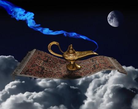 lampara magica: Alfombra & de l�mpara m�gica Foto de archivo