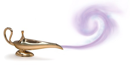 genie lamp: magic genie lamp with purple smoke