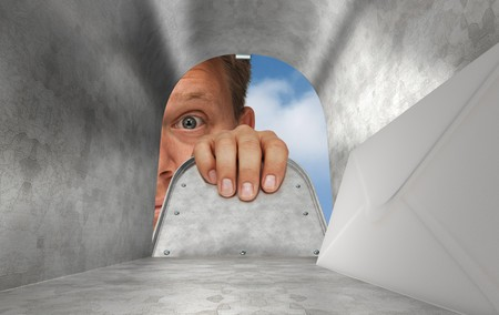 View from inside the mailbox looking out, revealing a letter and someone opening the mailbox door and peering in
