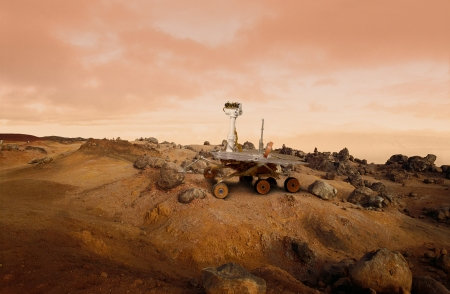 exploration: Mars Rover exploration vehicle on the surface of Mars Stock Photo
