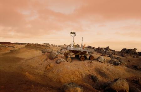Vehículo de exploración de Mars Rover en la superficie de Marte