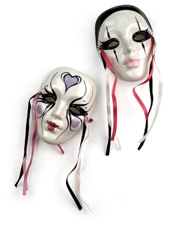 fantasy masks on white photo