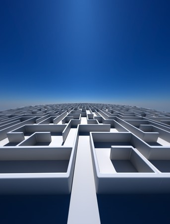 High Resolution 3d art showing a maze as far as you can see