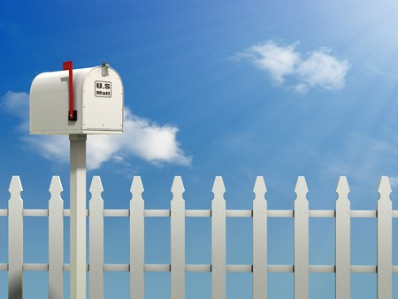 A Mail Box against a Blue Sky and white picket fence background Stock Photo - 7058038